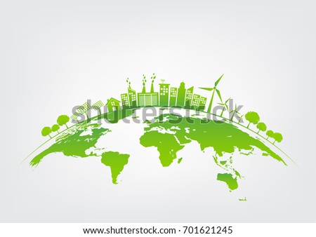 Ecology concept with green city on earth, World environment and sustainable development concept, vector illustration Royalty-Free Stock Photo #701621245