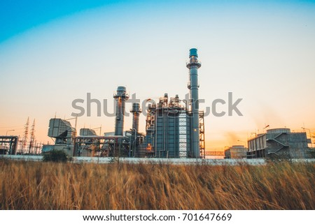 Glow light of petrochemical industry on sunset and Twilight sky ,Power plant,Energy power station area #701647669