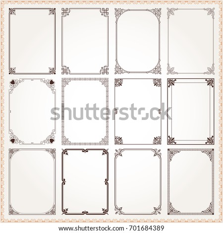 Decorative vintage frames borders backgrounds rectangle proportions set 6 vector #701684389