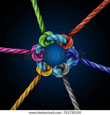 Center network connection business concept as a group of diverse ropes connected to a central circle rope as a network metaphor for connectivity and linking to a centralized support structure. Royalty-Free Stock Photo #701730190