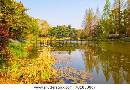 NANJING,JIANGSU/CHINA-APR9: Nanjing Xuanwu Lake Park scen on Apr9,2015 in Nanjing, Jiangsu, China. It is one of the most famous places in Nanjing.  #701830867
