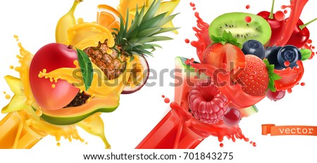 Fruit burst. Splash of juice. Sweet tropical fruits and mixed berries. Mango, banana, pineapple, papaya, strawberry, raspberry, blueberry, watermelon. 3d realistic vector icon set. #701843275