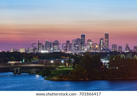Sunset over Houston, TX as viewed from docks