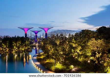 Supertree Grove in Garden by the Bay at Singapore. Landscape of Singapore business building around Marina bay. Modern high building in business district area at twilight. #701926186