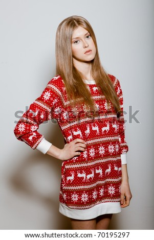 Woman to the waist with big eyes in a sweater #70195297