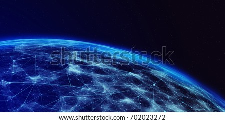 Connection lines Around Earth Globe, Futuristic Technology  Theme Background with Light Effect. 3D illustration/Global International Connectivity Background #702023272
