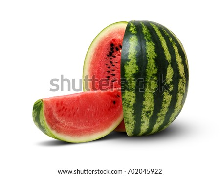 Ripe striped watermelon isolated on white #702045922