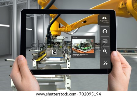 Smart Logistic warehouse technology , Augmented reality marketing , X-Ray packages box , industry 4.0 concept. Hand holding tablet to check items inside boxes. #702095194