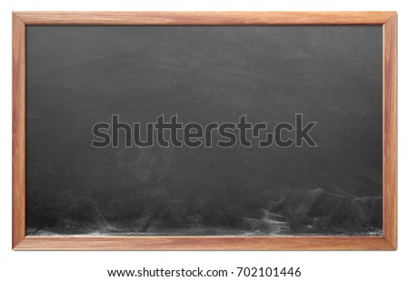 Blank chalkboard with wooden frame isolated on white background. can add your own text on space. #702101446
