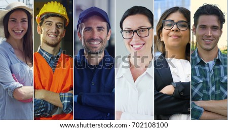 Collage professions, gardener, builder, auto mechanic, doctor, business woman and farmer. Royalty-Free Stock Photo #702108100