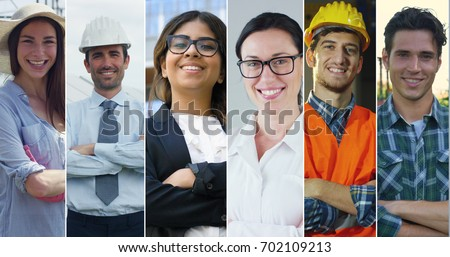 Collage professions, gardener, builder, engineer, doctor, business woman and farmer.  Royalty-Free Stock Photo #702109213