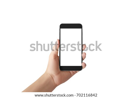 Touch screen smartphone in  a hand #702116842