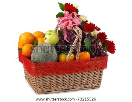 Fruits hamper basket  isolated on white background #70215526
