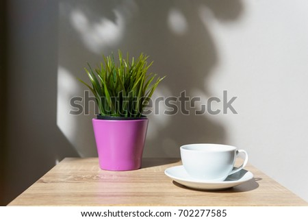 espresso coffee in white cup on the wooden table with small mock up plant at terrace or balcony of hotel with garden view. coffee, relax, holiday, feel good or thinker concept. #702277585