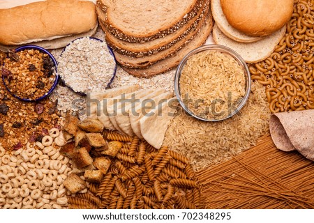 Display of whole grains and whole grain products Royalty-Free Stock Photo #702348295