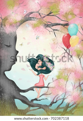 Romantic girls illustration in the trees.