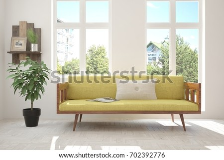 Idea of white room with sofa and summer landscape in window. Scandinavian interior design. 3D illustration #702392776