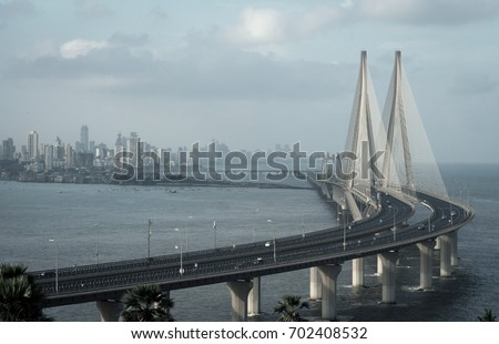 The Bandra–Worli Sea Link, officially called Rajiv Gandhi Sea Link. #702408532