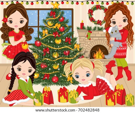 Vector Christmas and New Year set. Set includes cute little girls, decorated Christmas tree, lights, fireplace, cat, candles, socks, gifts and wreath. Christmas and New Year vector illustration