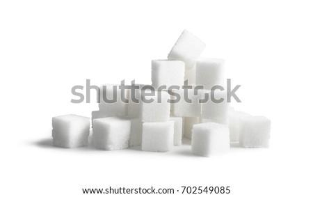 Sugar cubes isolated on white background #702549085