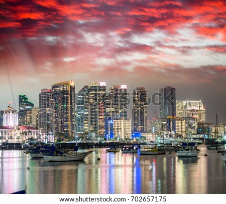 San Diego, California. Night view of Downtown buildgs with water reflections. #702657175