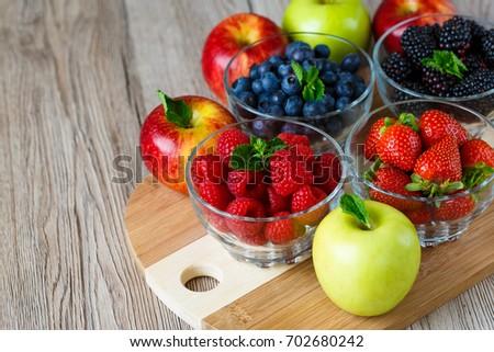 Berries and fruits, fresh vitamins, vegan food concept, detox #702680242