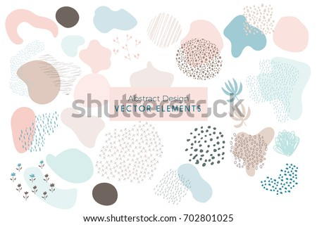 Set of Vector Abstract Brush Strokes, Hand Drawn Design Elements, Organic Shapes, Abstract Backgrounds Royalty-Free Stock Photo #702801025