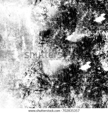 Grunge background of black and white. Abstract texture of cracks, stains, breaks. Monochrome black and white background for design. Urban style dark textures. Vintage background old wall #702835357