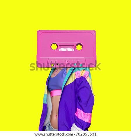 Fashion Retro Cassette Minimal art collage