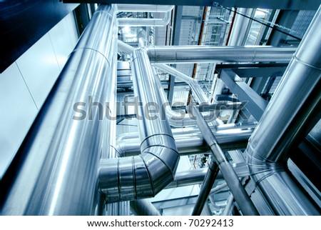 Industrial zone, Steel pipelines in blue tones #70292413