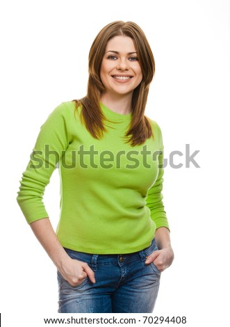 Portrait of happy smiling woman dressed in a green blouse, Isolated on white background