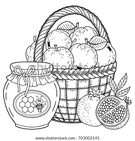 Autumn vector coloring page for adults. Black and white background silhouette. Harvest of ripe applesapples, pomegranates and honey pot. Thanksgiving Day. Rosh hashanah jewish new year holiday