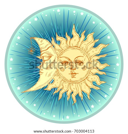 Sun and moon with face stylized as engraving. Can be used as print for T-shirts and bags, decor element. Day and night. Hand drawn  astrology symbol