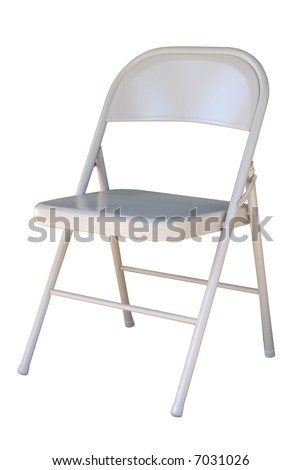 Metal folding chair isolated on white background. #7031026