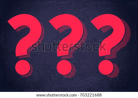 Question marks symbols set. Blue grunge background texture. Retro vector illustration Royalty-Free Stock Photo #703221688