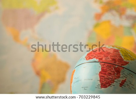 Africa map on a globe
