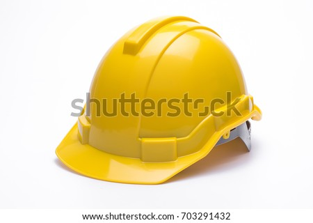 Yellow safety helmet isolated on white background Royalty-Free Stock Photo #703291432