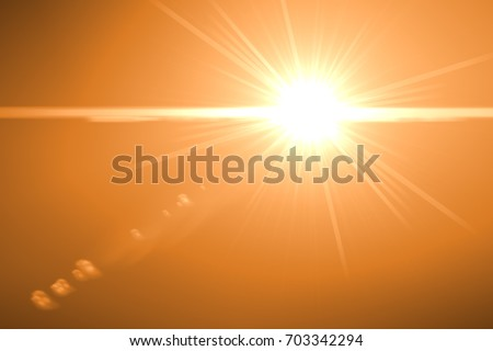 sunburst with Lens flare light over black background. Easy to add overlay or screen filter over photo	  #703342294