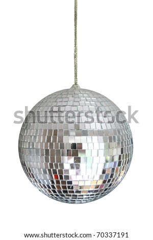 disco ball hanging on chainlet isolated on white Royalty-Free Stock Photo #70337191