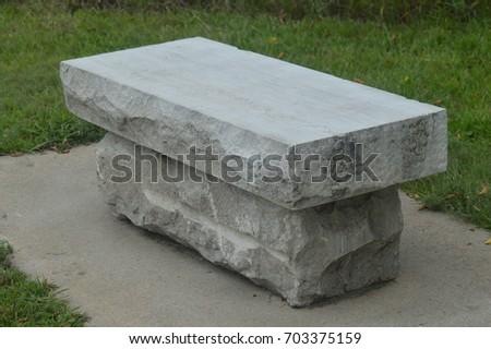 Stone Park Bench #703375159