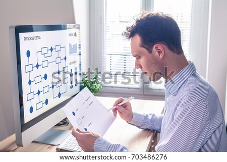 Businessman or engineer working on business process automation or algorithm with flowchart on computer screen #703486276