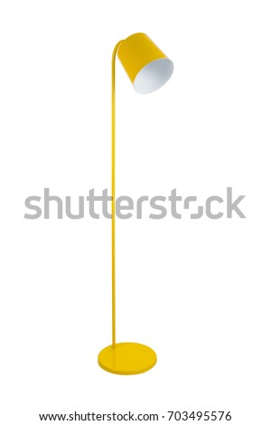 Modern yellow floor lamp isolated on white background #703495576