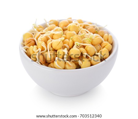 Germinated chickpeas in a bowl on white background #703512340
