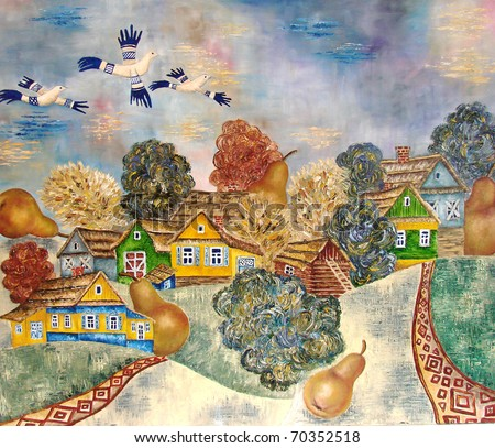 """Slavic village""  - an original oil abstract modern painting on canvas."