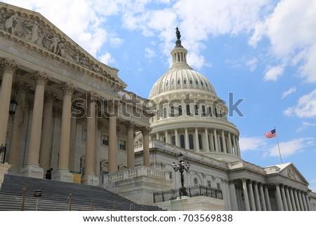 WASHINGTON, DC - 22 JUN: United States Capitol in Washington, DC, the United States on 22 June 2017 #703569838