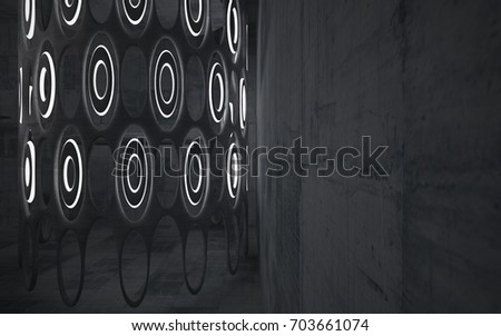 Empty dark abstract concrete room smooth interior. Architectural background. Night view of the illuminated. 3D illustration and rendering #703661074