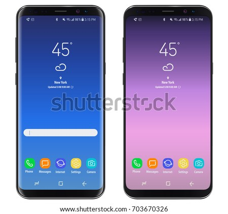 Smartphone, mobile phone isolated, realistic vector illustration. Royalty-Free Stock Photo #703670326