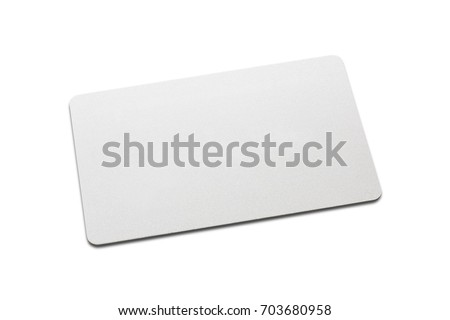 Top view of blank white business card mockup with rounded corners on white background. Used for credit namecard display front used design for branding.