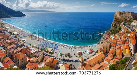 View over Scilla with Castello Ruffo, Calabria, Italy. Focus on the roofs at the right #703771276