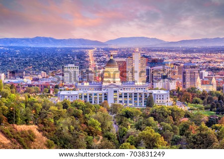 Salt Lake City skyline Utah at night Royalty-Free Stock Photo #703831249